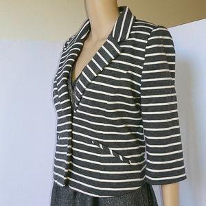 Express Gray & White Cotton Blazer Size M